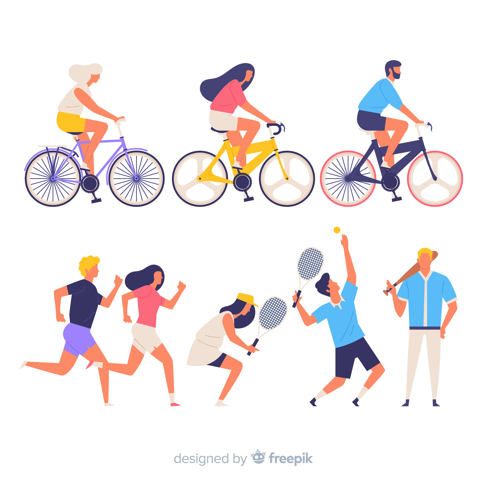 Colorful people doing sport