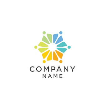Colorful people group team logo design illustration