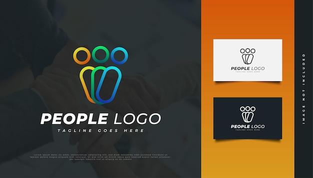 線のスタイルでカラフルな人々のロゴデザイン。人、コミュニティ、ネットワーク、クリエイティブハブ、グループ、ソーシャルコネクションのロゴまたはビジネスアイデンティティのアイコン