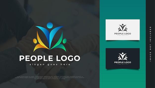 カラフルな人々のロゴ。人、コミュニティ、ネットワーク、クリエイティブハブ、グループ、ソーシャルコネクションのロゴまたはビジネスアイデンティティのアイコン