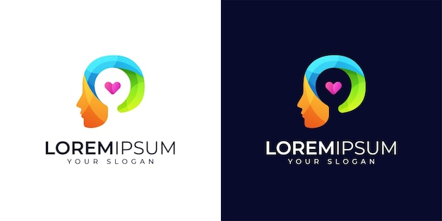 Colorful people and love logo design inspiration