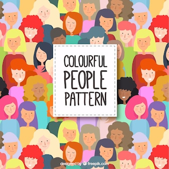 Colorful people pattern with flat design