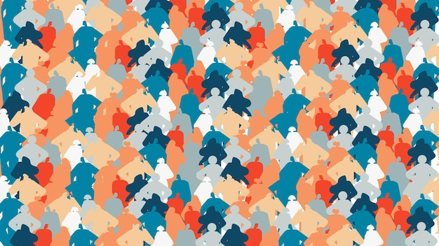 Colorful people silhouettes men women standing together cartoon characters portraits seamless pattern horizontal vector illustration