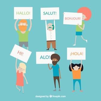 フラットなデザインでさまざまな言語を話すカラフルな人々