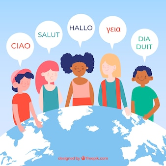 Colorful people speaking different languages with flat design