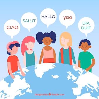 평면 디자인으로 다른 언어를 사용하는 다채로운 사람들
