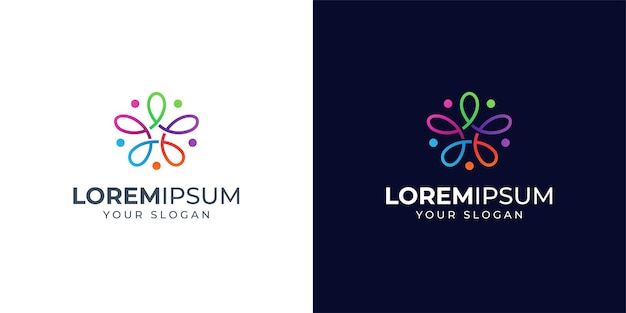 Colorful people and star logo design inspiration. floral logo