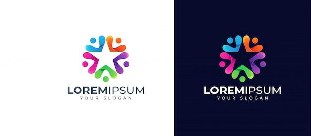 Colorful people and star logo design
