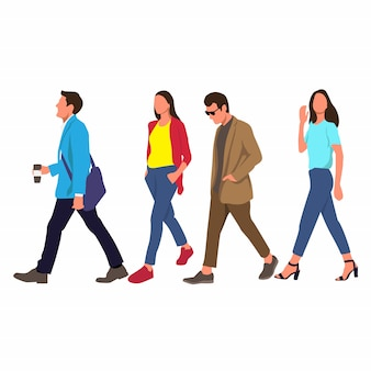 Colorful people walking vector illustration