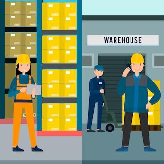 Persone colorate in magazzino banner verticali