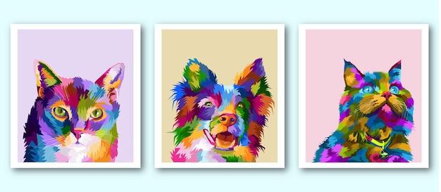Красочные домашнее животное поп-арт портрет в рамке изолированные украшения дизайн плаката милые забавные животные готовы к