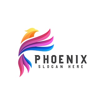 Colorful phoenix or eagle logo design   template