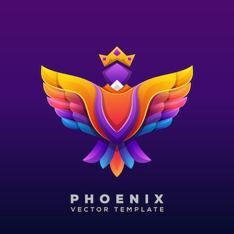 Colorful phoenix illustration, phoenix logo vector