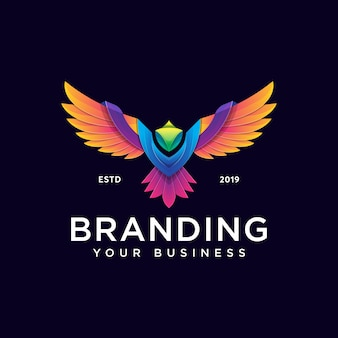 Colorful phoenix logo design template modern