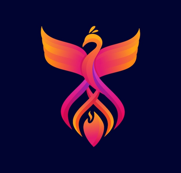 Colorful phoenix logo design