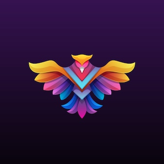 Colorful phoenix logo  illustration