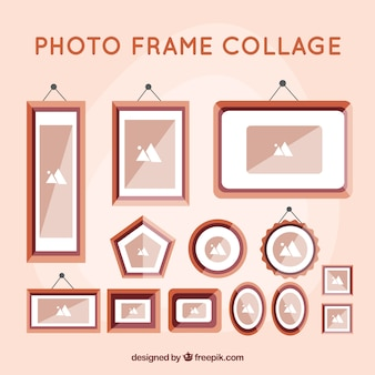 Colorful photo frame collage with flat design