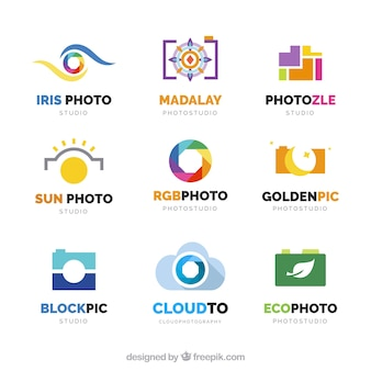 Colorful photo studio logo collection