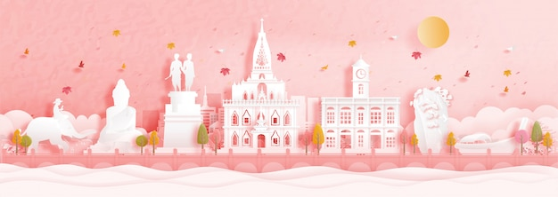 Colorful phuket, thailand with falling leaves and world famous landmarks in paper cut style vector illustration