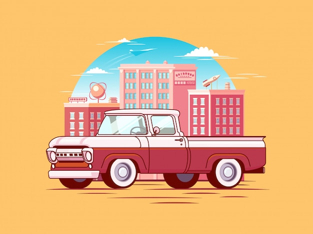 Colorful pickup car template