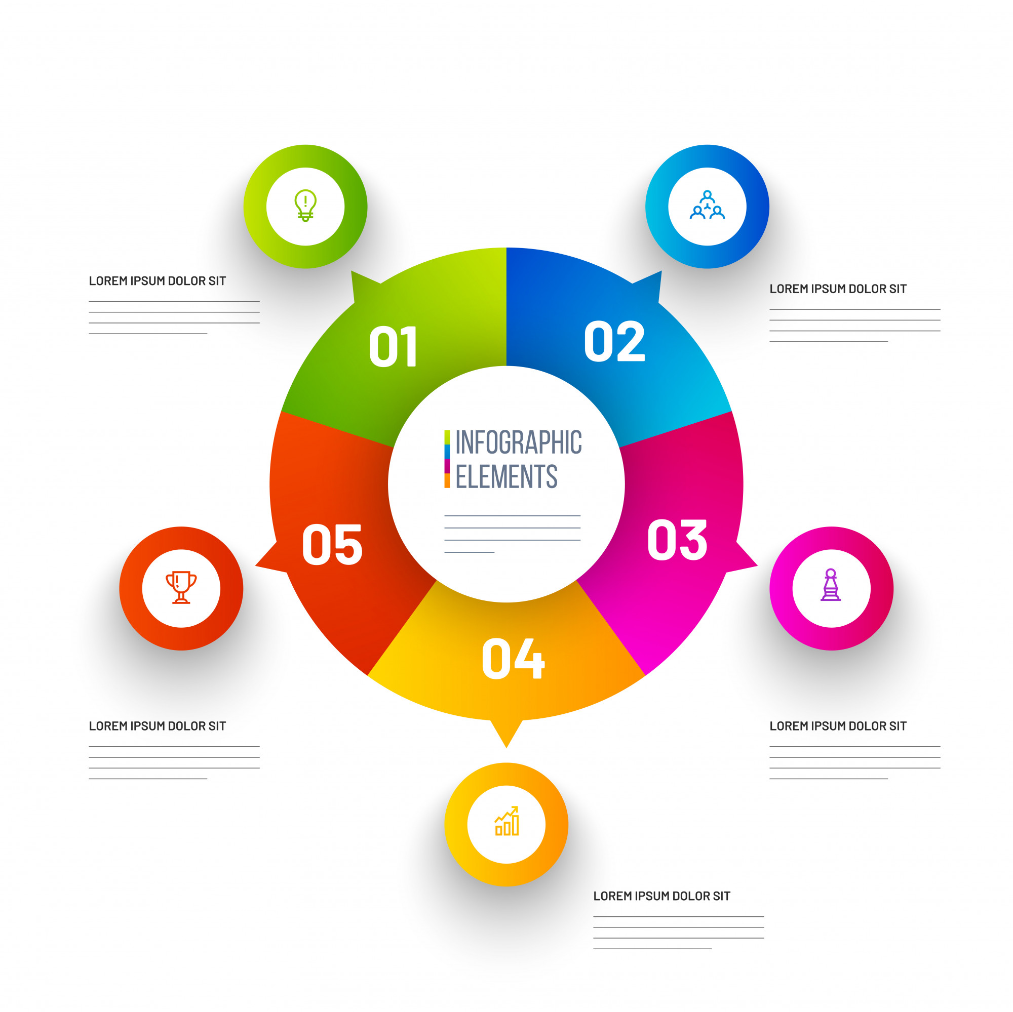 Colorful Pie Chart Infographic Elements.