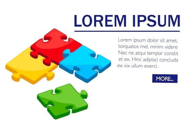 Красочные кусочки головоломки. плоский дизайн. концепция вместе. иллюстрация на белом фоне с группой головоломки в углу. дизайн страницы веб-сайта и мобильного приложения.