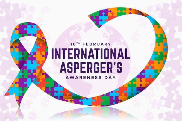 퍼즐 리본 aspergers 인식의 날 평면 디자인의 다채로운 조각