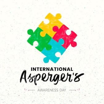 퍼즐 리본 aspergers 인식의 날의 다채로운 조각