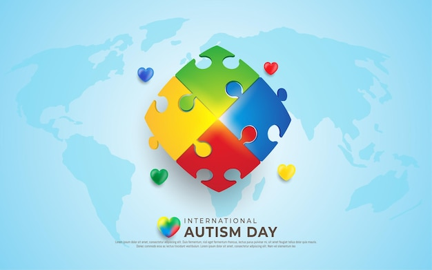 Colorful pieces of puzzle international autism day
