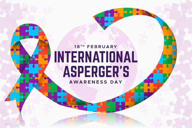 Colorful pieces of puzzle ribbon aspergers awareness day flat design