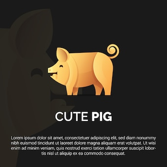 Colorful pig logo template