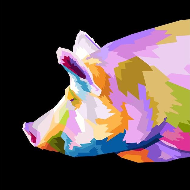 다채로운 돼지 팝 아트 초상화 스타일