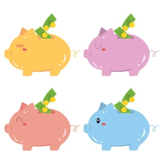 Colorful piggy bank with dollars vector set