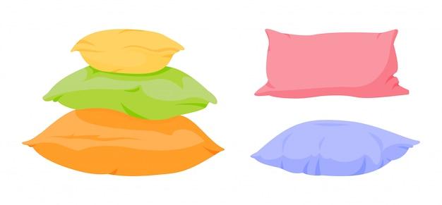 Colorful pillow pyramid, slide cartoon set. home interior textile. soft color square pillow