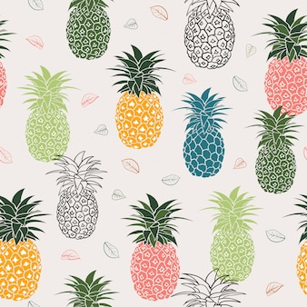 Colorful pineapple with leaves seamless pattern