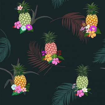 Colorful pineapple with tropical flowers and leaves seamless pattern