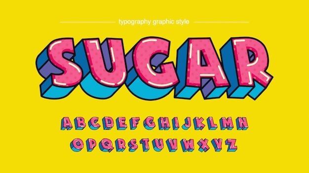 Colorful pink blue candy cartoon style typography