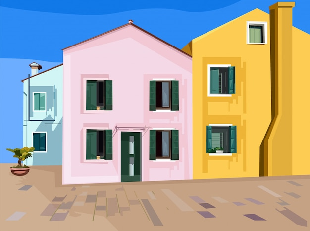 Colorful pink, blue and yellow buildings. minimalistic style