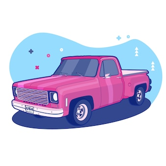 Colorful pink car background memphis style illustration