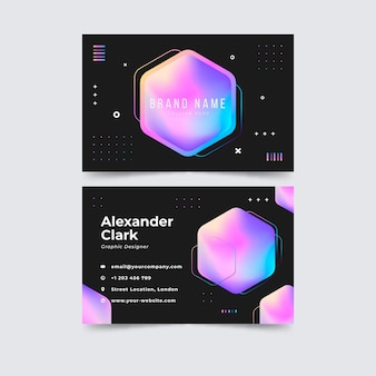 Colorful pink gradient business card template