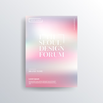 Colorful pink and greybrochure