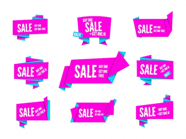 Colorful pink  origami paper speech bubbles collection. set of flat ribbon banner