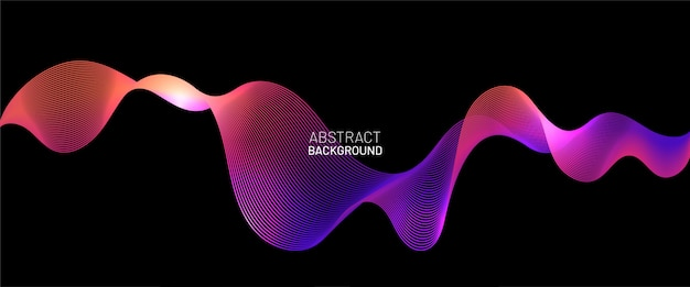 Colorful pink and purple glowing dynamic wavy line. abstract light neon wave