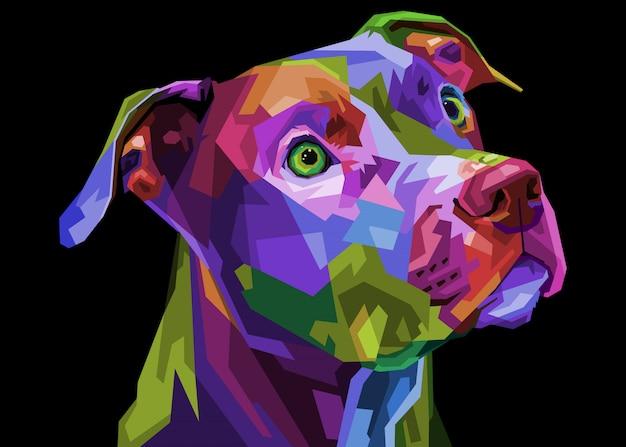 Colorful pitbull terrier dog on pop art geometric . illustration