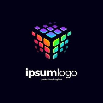 Colorful pixel cube logo design