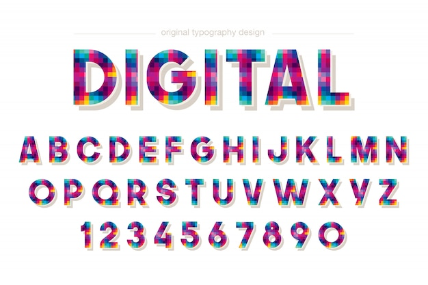 Colorful pixel typography design
