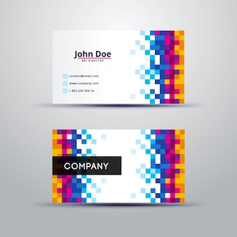 Colorful pixelated business card
