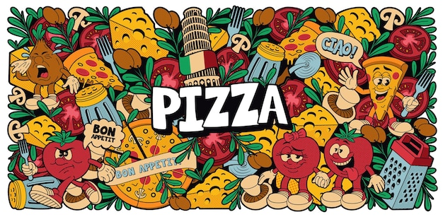 A colorful pizza background in cartoon style, this design can be used as wallpaper for a restaurant