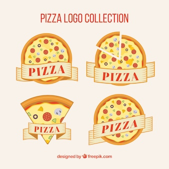 Colorful pizza logo collection