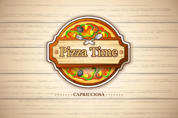 Colorful pizza margherita emblem with cheese and tomato ingredients on wooden illustration